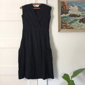Boded Jersey Knit Black Dress